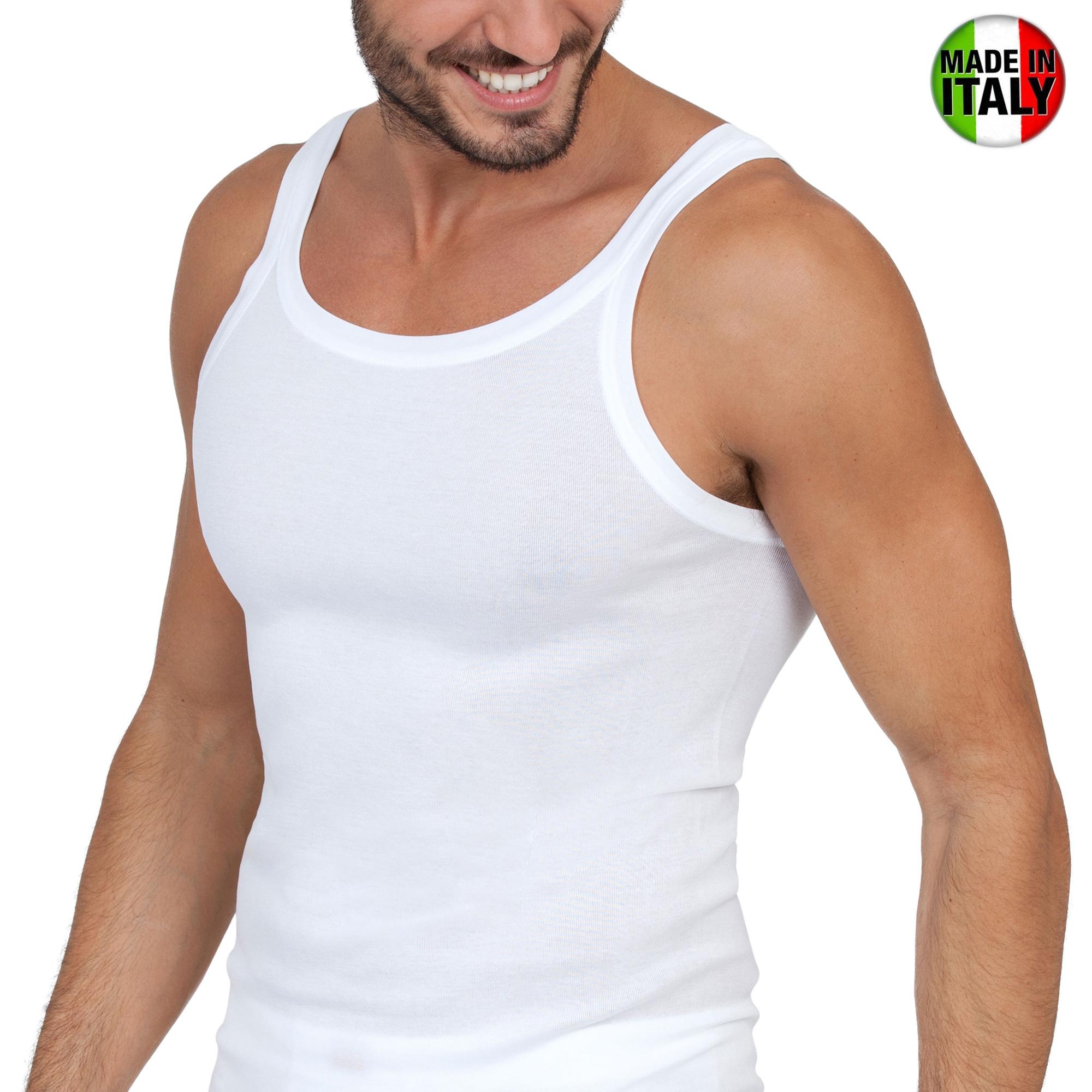 3pz canottiera uomo intima 100/%cotone made italy costine spalla stretta bianco